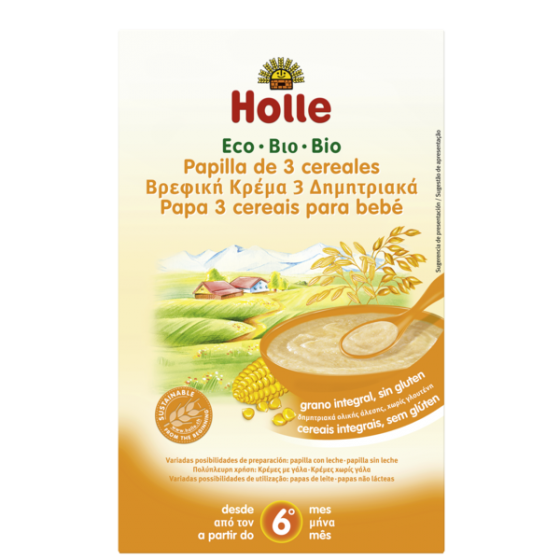 HOLLE PAPAS BIO PAPA 3CEREAIS INTEGRAIS +6M 250 G