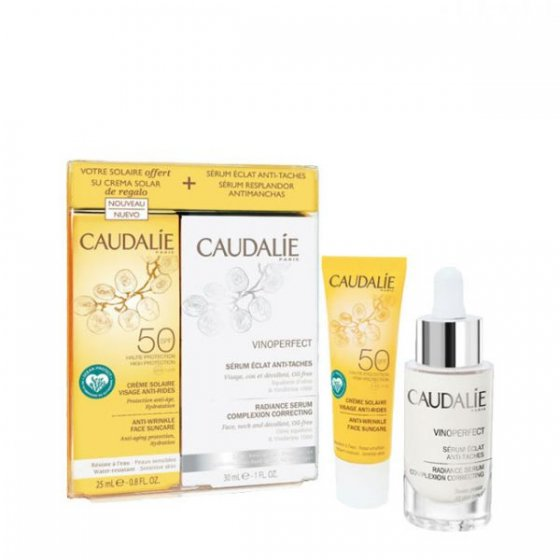 CAUDALIE COFFRET VINOPERFECT SERUM 30ML + CREME SOLAR ROSTO ANTI-RUGAS SPF50 25ML