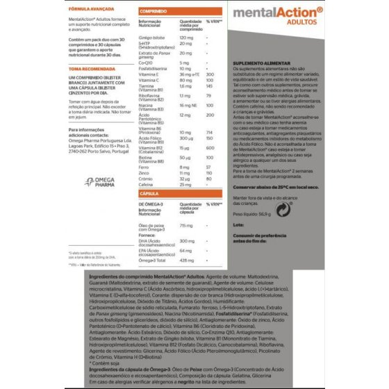 MENTALACTION ADULTO COMPRIMIDOS X 30 + CAPSULAS X 30