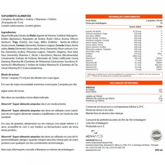 ABSORVIT SUPER ALIMENTO AMPOLAS 15ML X 20