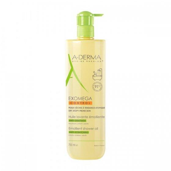 A-DERMA Exomega Óleo Duche Emoliente para pele de tendência atópica e muito seca. Embalagem de 500 ml