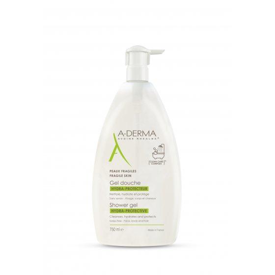 A-DERMA Gel duche HIDRA PROTETOR Higiene diária da pele frágil e seca. Embalagem de 750 ml