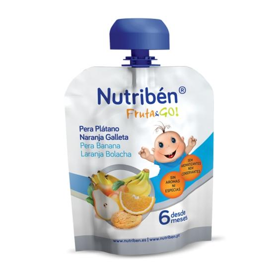 NUTRIBEN FRUTA GO PURE PERA/BANANA/LARANJA/BOLACHA 90G