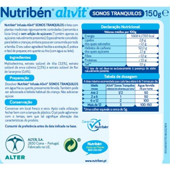 NUTRIBEN INFUSAO ALIVIT SONOS TRANQUILOS 150G