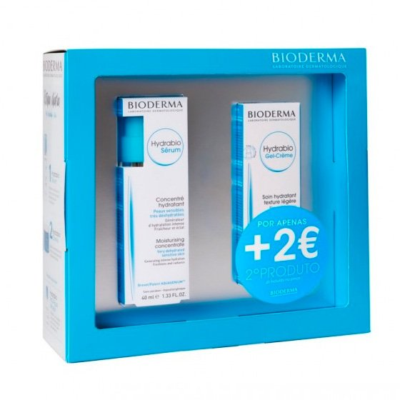 BIODERMA COFFRET HYDRABIO GEL-CREME PELE NORMAL A MISTA 40 ML + BIODERMA HYDRABIO SERUM 40 ML COM PRECO ESPECIAL DE 2€