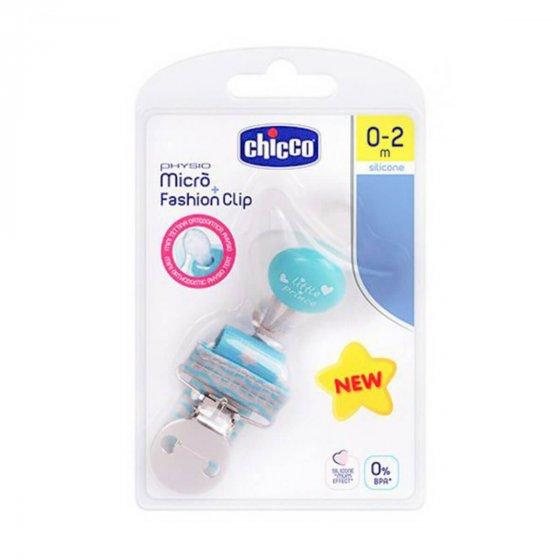 Chicco Pack Physio Micro Chupeta Silicone + Fashion Clip Menino 0-2 1 Chupeta + 1 Clip