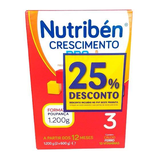 NUTRIBEN CRESCIMENTO PRO+ DUO LEITE EM PO 2 X 600 G COM DESCONTO DE 25%