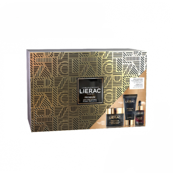 LIERAC PREMIUM COFFRET LUXE CREME VOLUPTUOSO 50 ML + MASCARA 75 ML COM OFERTA DE SERUM 30 ML 2019