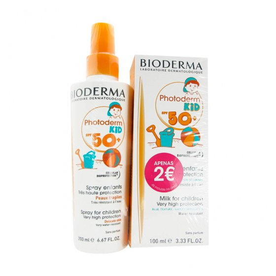 BIODERMA PHOTODERM KID SPF50+ SPRAY 200 ML + BIODERMA PHOTODERM KID SPF50+ LEITE 100 ML COM PRECO ESPECIAL DE 2€