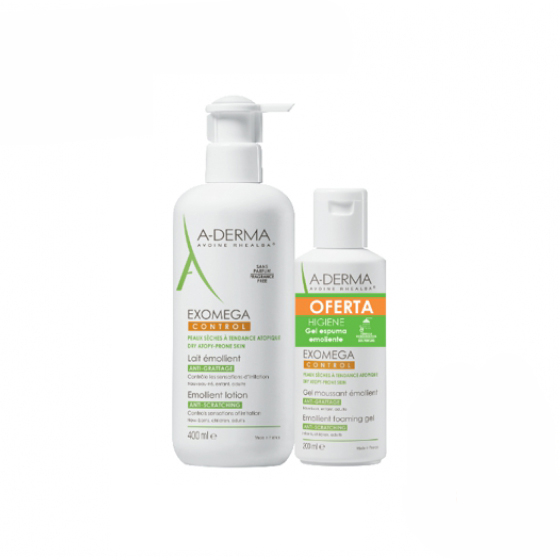 A-DERMA EXOMEGA CONTROL LEITE 400ML + GEL LAVANTE 200ML
