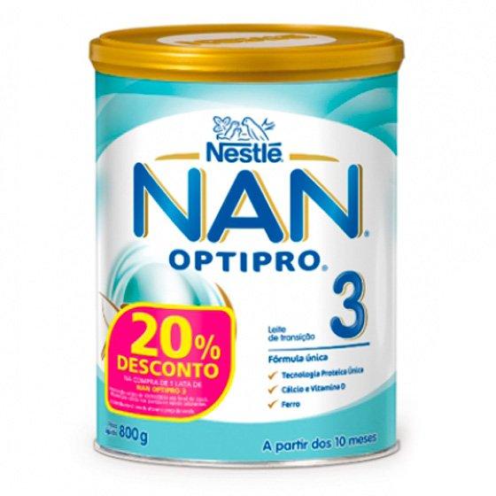 NAN OPTIPRO 3  LEITE TRANSICAO 800G + 20% DESCONTO