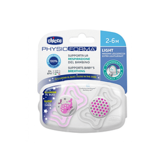 CHICCO CHUPETA PHYSIO LATEX LUMINOSA SILICONE 2-6 MESES X 2