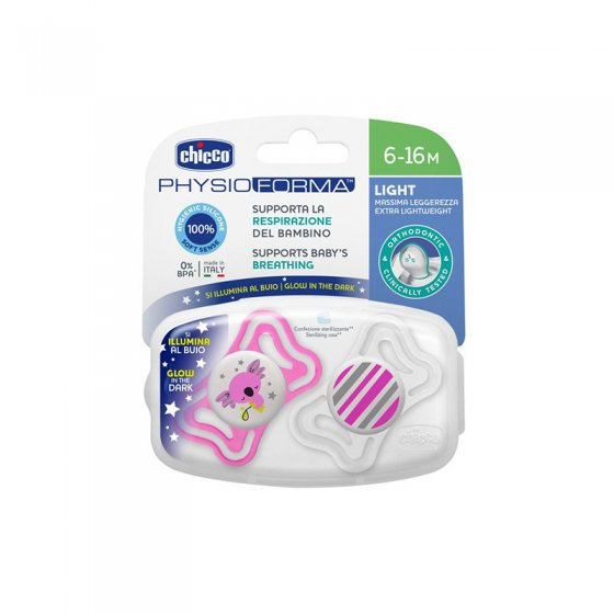 CHICCO CHUPETA PHYSIO LATEX LUMINOSA SILICONE 6-16 MESES X 2
