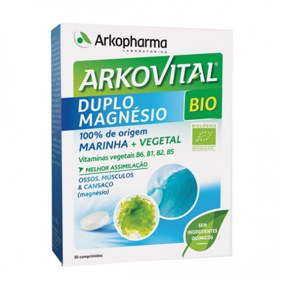 ARKOVITAL DUPLO MAGNESIO COMP X30 COMPS ALGA AOSA (ULVA LACTUCA) MAGNESIO GOIABA (PSIDIUM GUAJAVA) MANJERICAO (OCIMUM BASILICUM) LIMAO (CITRUS LIMONUM) PLANTAS (CONCENTRADO) TIAMINA (VITAMINA B1) RIBOFLAVINA (VITAMINA B2) PIRIDOXINA (VITAMINA B6) PANTOTE
