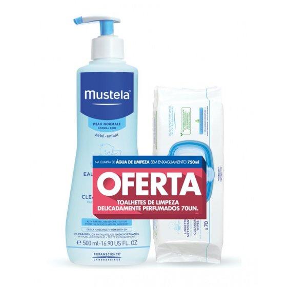MUSTELA BEBE PELE NORMAL AGUA LIMPEZA 750ML + OFERTA TOALHETE X 70