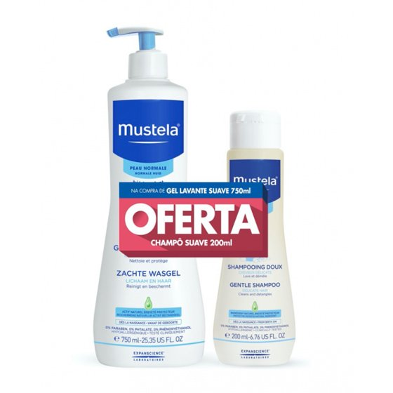 MUSTELA BEBE PELE NORMAL GEL LAVANTE 750ML + CHAMPO SUAVE 200ML