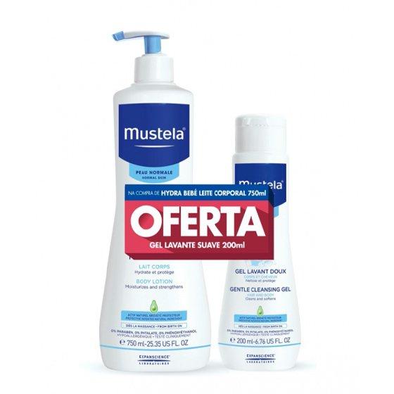 MUSTELA BEBE PELE NORMAL LEITE HYDRA CORPO 750ML + OFERTA GEL 200ML