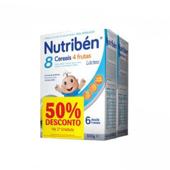 NUTRIBEN FARINHA LACTEA 8 CEREAIS 4 FRUTAS 300 G + FARINHA CRESCIMENTO LACTEA 300 G COM DESCONTO DE 50%