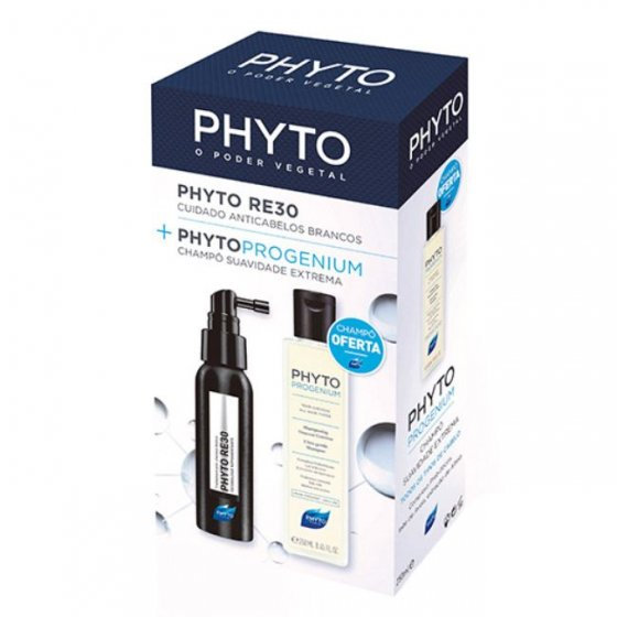 PHYTO RE30 CUIDADO ANTICABELOS BRANCOS 50 ML COM OFERTA DE PHYTOPROGENIUM CHAMPO SUAVIDADE EXTREMA 250 ML
