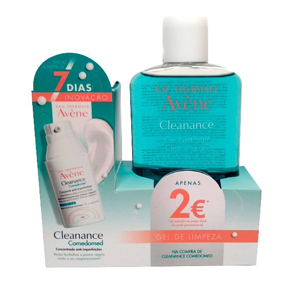 AVENE CLEANANCE COMEDOMED CONCENTRADO ANTI-IMPERFEICOES 30 ML + GEL DE LIMPEZA 200 ML COM PRECO ESPECIAL DE 2€ NA 2ª EMBALAGEM