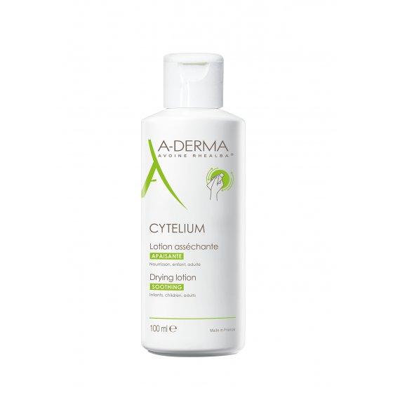 A-DERMA Cytelium Loção secante, para irritações cutâneas húmidas.  Embalagem de 100 ml