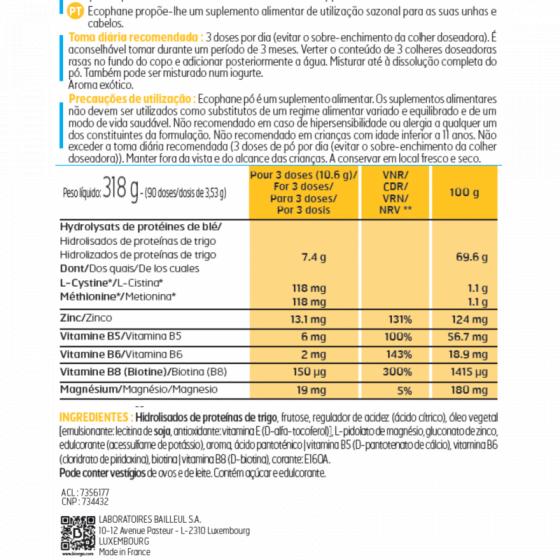 ECOPHANE BIORGA PO 90D 3,53G PO ORAL MEDIDA HIDROLISADOS PROTEICOS ZINCO (GLUCONATO) PANTOTENATO (CALCIO) PIRIDOXINA (VITAMINA B6) BIOTINA (D-BIOTINA)