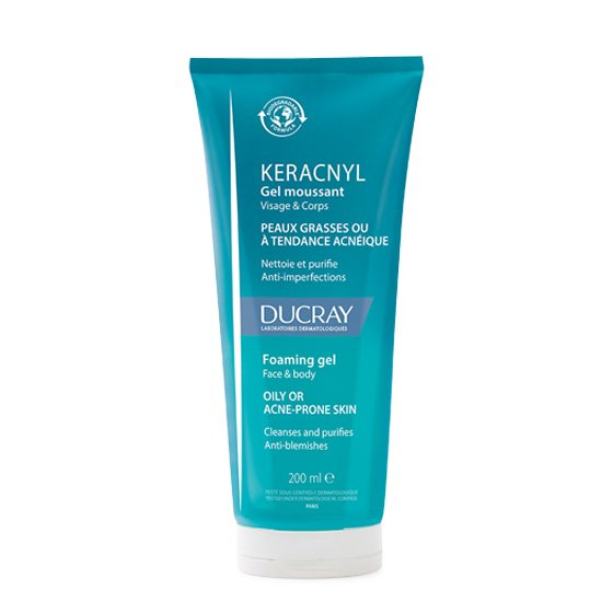 DUCRAY Keracnyl Gel Espuma para pele de tendência acneica ligeira e moderada. Embalagem de 200 ml