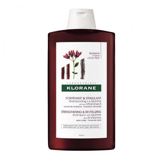 KLORANE Capilar Champô Quinina para cabelo cansado, desvitalizado e com perda de densidade. Embalagem de 400 ml