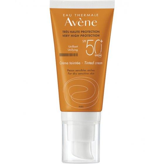 AVÈNE Solares Creme 50+ Com Cor para pele muito clara e hipersensível ao sol. Embalagem de 50 ml