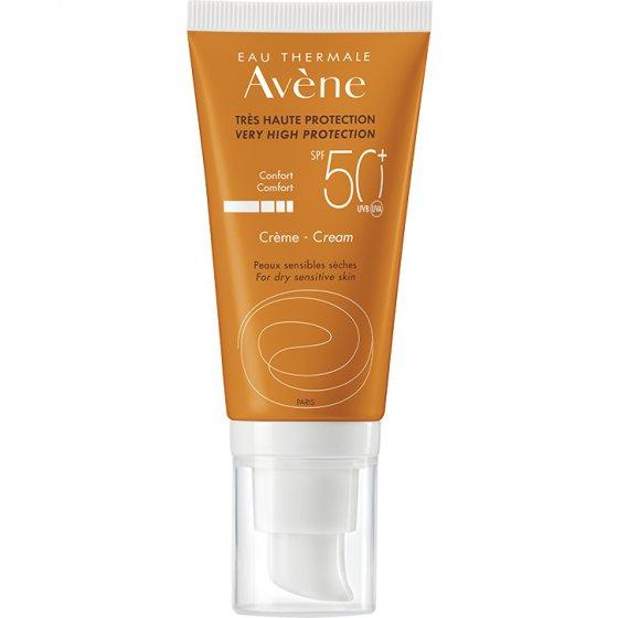 AVÈNE Solares Creme 50+ Incolor para pele muito clara e hipersensível ao sol. Embalagem de 50 ml