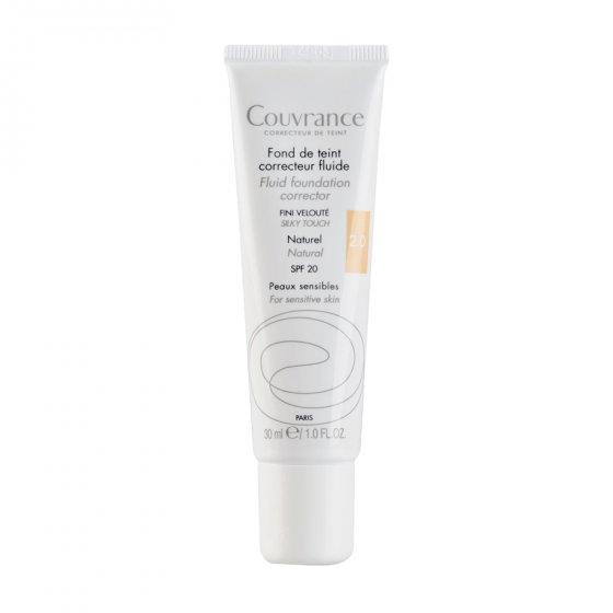 AVÈNE Couvrance Base Fluida Corretora Natural para pele sensível. Embalagem de 30 ml