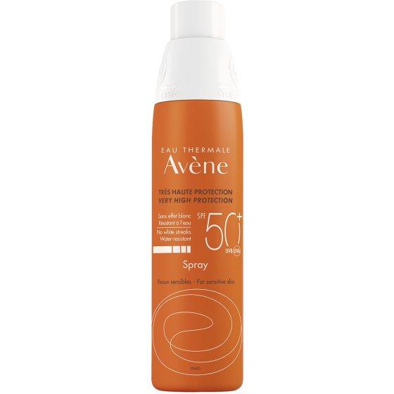 AVÈNE Solares Spray 50+ para pele muito clara e hipersensível ao sol. Embalagem de 200 ml