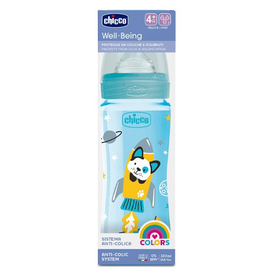 CHICCO BIBERAO WELL BEING SILICONE AZUL 4M+ 330ML