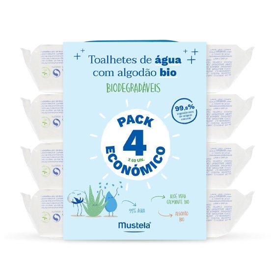 MUSTELA BEBE TOALHETES DE AGUA COM ALGODAO BIO 4 X 60 UNIDADE(S) PACK ECONOMICO