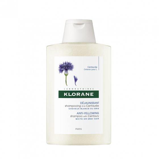KLORANE Capilar Champô Centáureas para cabelo branco ou grisalho. Embalagem de 200 ml