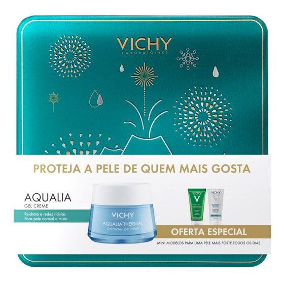 VICHY AQUALIA THERMAL GEL-CREME PELE NORMAL A MISTA 50 ML COM OFERTA NORMADERM PHYTOSOLUTION GEL LIMPEZA PURIFICANTE 50 ML + GEL HIDROALCOOLICO 50 ML