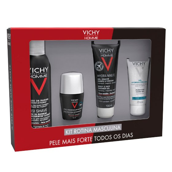 VICHY HOMME KIT ROTINA MASCULINA SENSI SHAVE MOUSSE 200 ML + ANTITRANSPIRANTE CONTROLO EXTREMO 72H 50 ML + HYDRA MAG C GEL DUCHE 100 ML + GEL HIDROALCOOLICO 50 ML