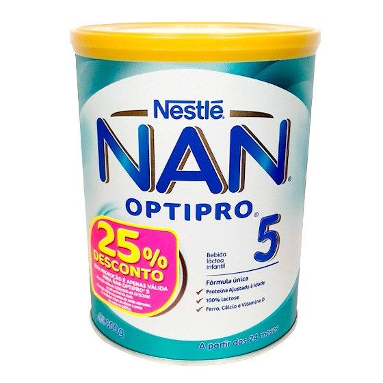 NAN OPTIPRO 5 LEITE EM PO CRESCIMENTO 800 G COM DESCONTO DE 25%