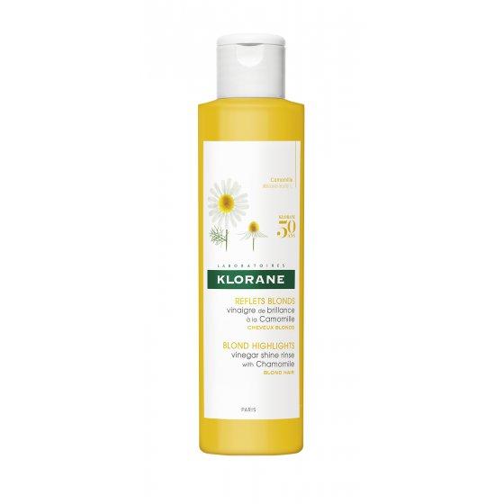 KLORANE Capilar Vinagre Camomila para cabelo loiro a castanho naturais, com madeixas, pintado ou não. Embalagem de 200 ml