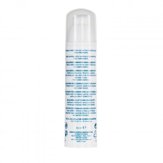 DUCRAY Melascreen Éclat Creme Ligeiro SPF15 para pele com hiperpigmentações. Embalagem de 40 ml