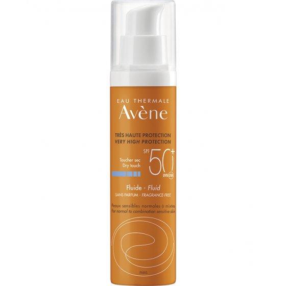 AVÈNE Solares Fluido 50+ Sem Perfume para pele muito clara e hipersensível ao sol. Embalagem de 50 ml