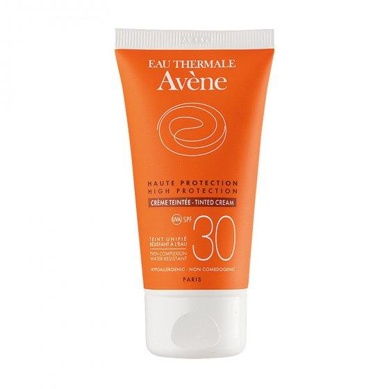 AVÈNE Solares Creme 30 com cor para pele clara e sensível ao sol. Embalagem de 50 ml