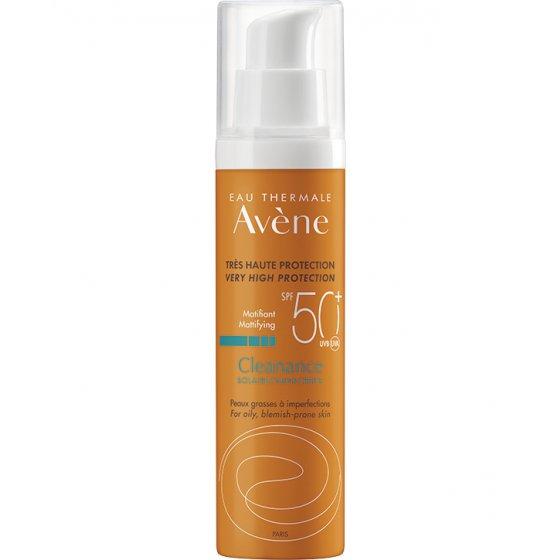 AVÈNE Solares Cleanance Solar 50+ para pele muito clara e hipersensível ao sol. Embalagem de 50 ml