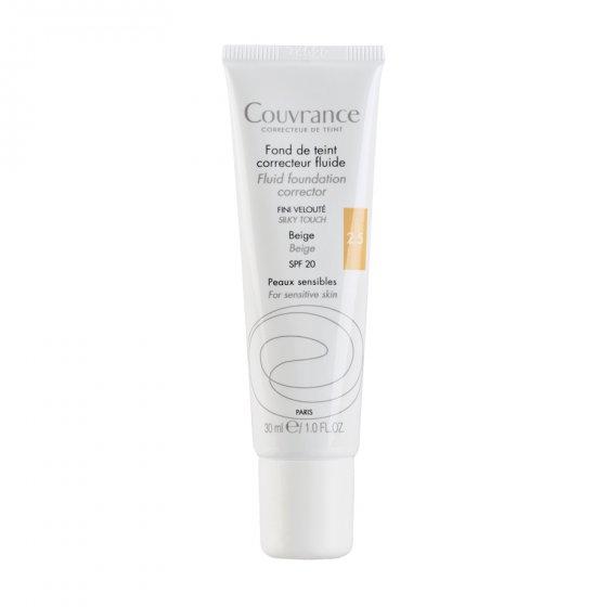 AVÈNE Couvrance Base Fluida Corretora Bege para pele sensível. Embalagem de 30 ml