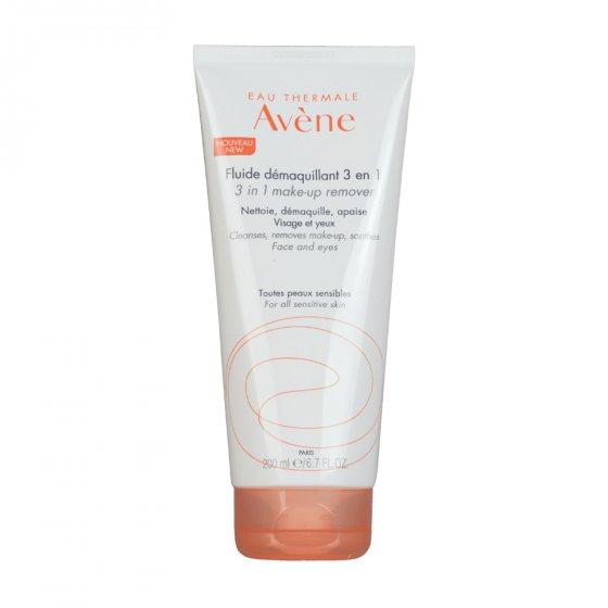 AVÈNE Fluido Desmaquilhante 3 em 1 para a pele sensível. Embalagem de 200 ml