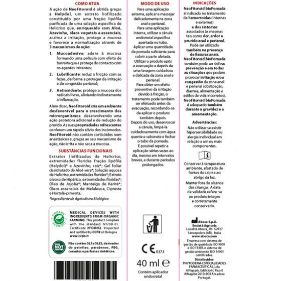 NEO FITOROID BIOPOMADA ENDORECTAL 40ML