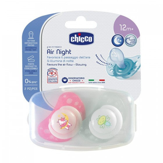 CHICCO CHUPETA PHYSIO AIR LUMINOSA SILICONE 12M+ X 2