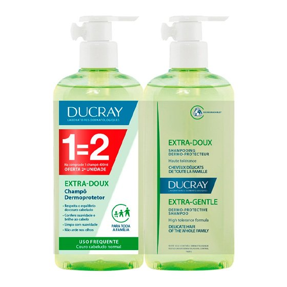 DUCRAY EXTRA DOUX CHAMPO USO FREQUENTE 400ML DUO