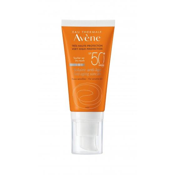 AVÈNE Solares Creme Anti Idade 50+ para pele muito clara e hipersensível ao sol. Embalagem de 50 ml
