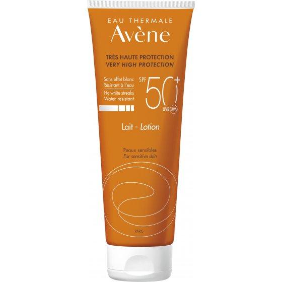 AVÈNE Solares Leite 50+ para pele muito clara e hipersensível ao sol. Embalagem de 250 ml